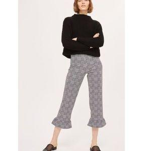 Topshop Check Frill Ponte Capri Trousers